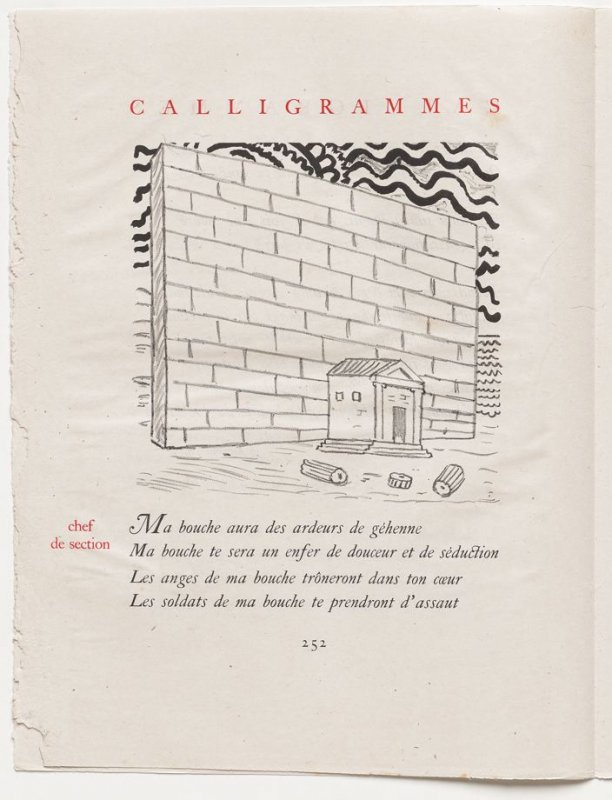 """chef de section,"" pg. 252, in the book Calligrammes by Guillaume Apollinaire (Paris: Librairie Gallimard, 1930)"
