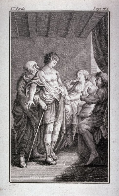 [Three men, a woman and a baby indoors]