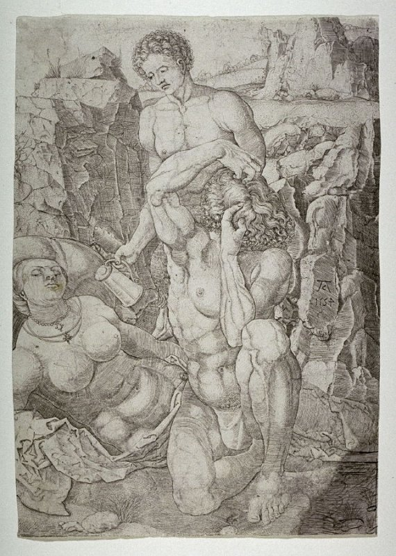 Two naked men and a sleeping woman