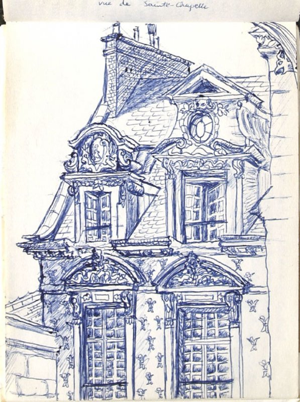 Untitled (View of Saint-Chapelle), Illustration 18 in the book Sketchbook (Europe, Ballet)