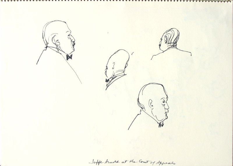 Judge Arnold at the Court of Appeals, Illustration 13 in the book Sketchbook (San Francisco)