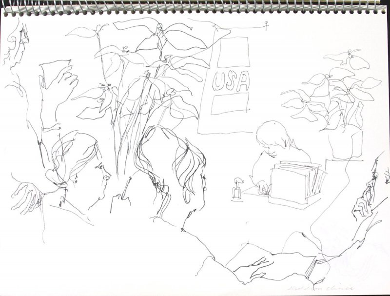 Alcoholism Clinic, Illustration 4 in the book Sketchbook (Pacific Medical Center Clinic, I)