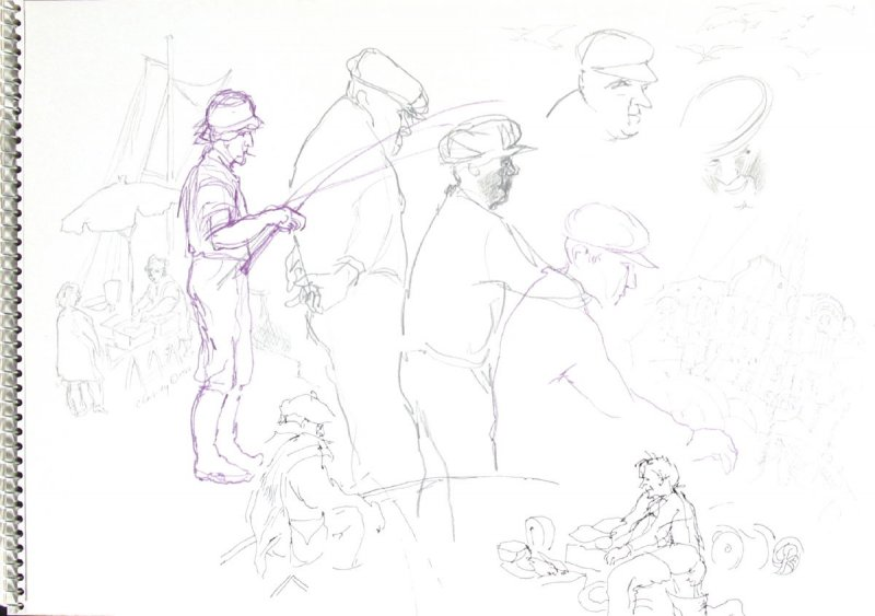 Untitled (Trouville fishermen), Illustration 4 in the book Sketchbook (Trouville, III)