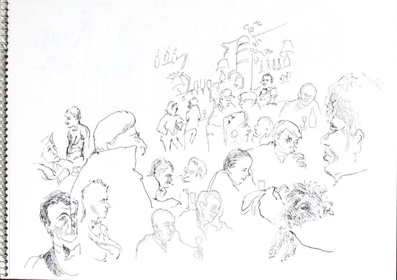 Untitled (Cafe scene), Illustration 8 in the book Sketchbook (Trouville, III)
