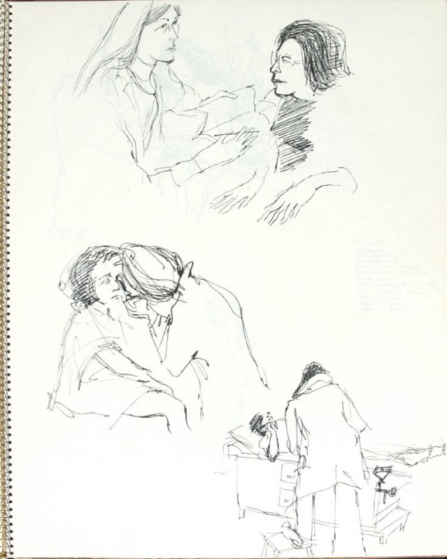 Dr. Rabkin and Violet Lynch, Illustration 25 in the book Sketchbook (Pacific Medical Center Clinic, II)