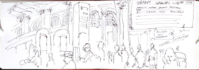 7:22 to Amsterdam, Illustration 14 in the book Sketchbook (Holland)