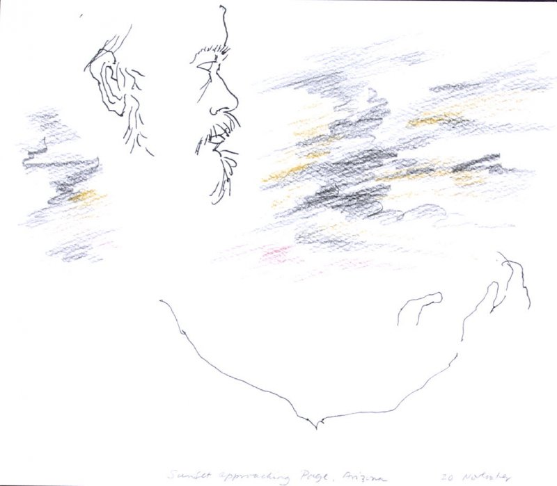 Sunset Approaching Page, Arizona, Illustration 10 in the book November 1980: Ten Days in the Southwest (sketchbook)