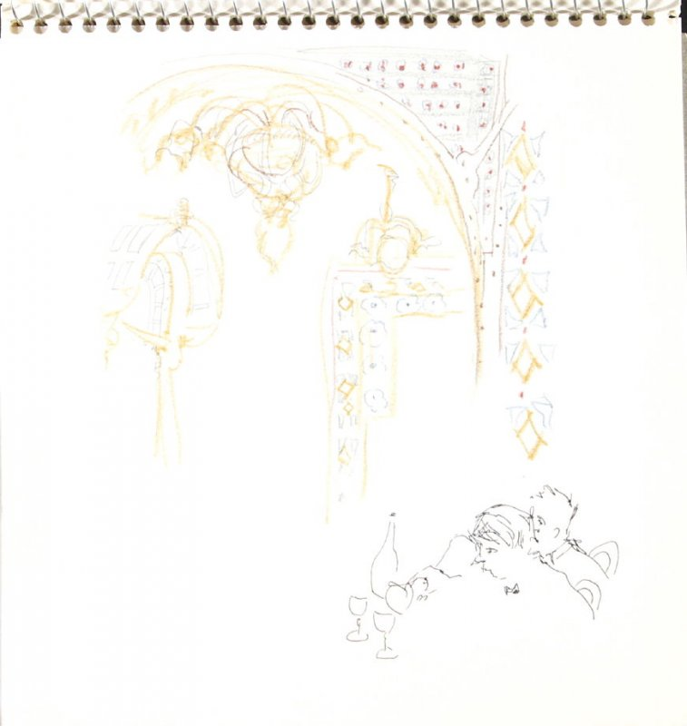 Untitled (Restaurant Interior), Illustration 14 in the book Sketchbook (Train Bleu)