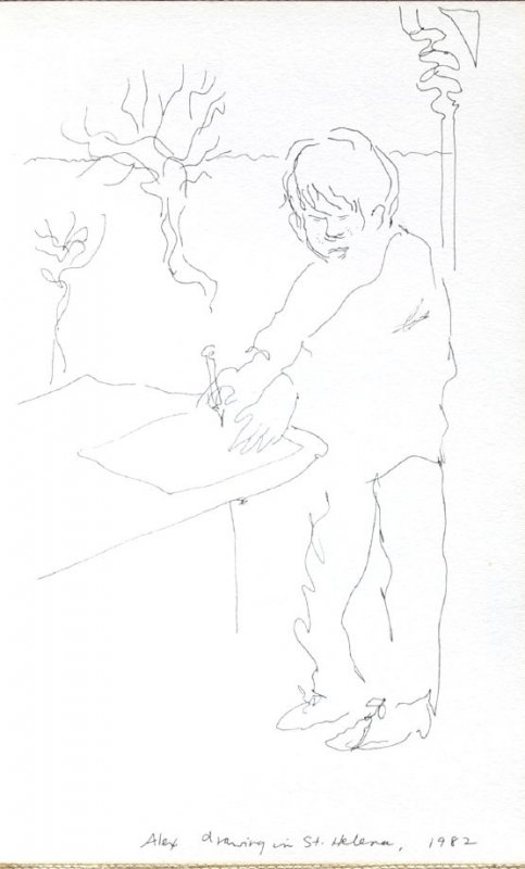 Alex Drawing in St. Helena, Illustration 41 in the book Sketchbook (Portraits)