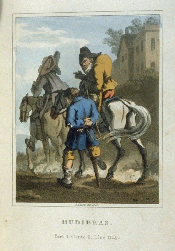 Illustration for Part 1,Canto 2, Line 1124, fifth plate in volume 1 of the book Hudibras by Samuel Butler (London: Thomas McLean, 1819)