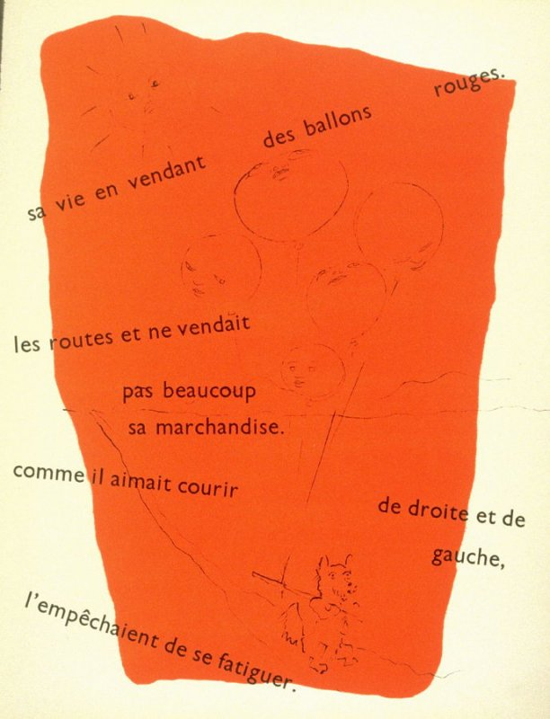 Tom était un chien qui gagnait sa vie en vendant des ballons rouges..., eleventh image in the book, Drôle de ménage (Paris: Editions Paul Morihien, 1948)