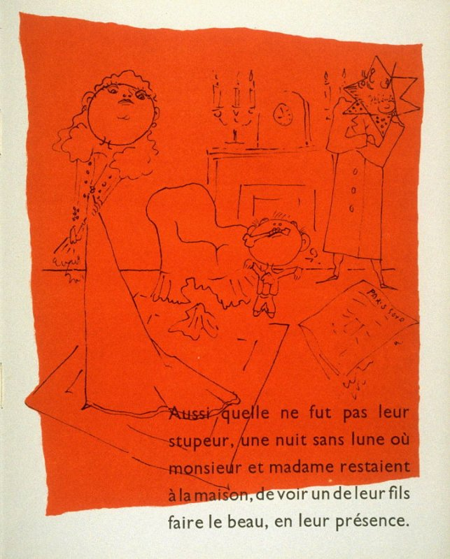 Monsieur Lesoleil et Madame Lesoleil (née Lalune) croyaient leurs enfants en bonnes mains...., twenty-second image in the book, Drôle de ménage (Paris: Editions Paul Morihien, 1948)