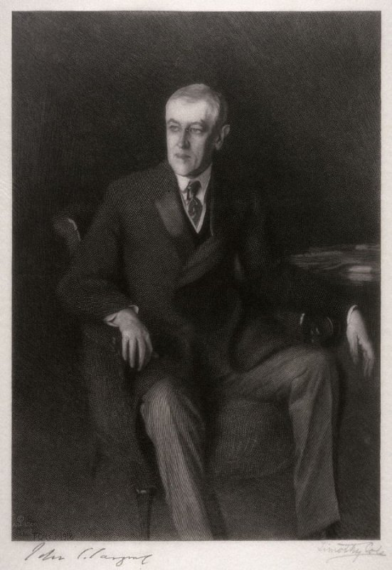 Portrait of Woodrow Wilson after the painting by John Singer Sargent