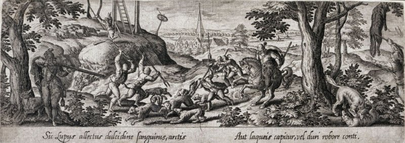 Wolf hunt, from the series Venationis, piscationis, et aucupii typi (Hunting, Fishing and Fowling Scenes)