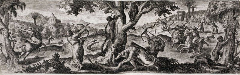 Monkey Hunt, from the series Venationis, piscationis, et aucupii typi (Hunting, Fishing and Fowling Scenes)