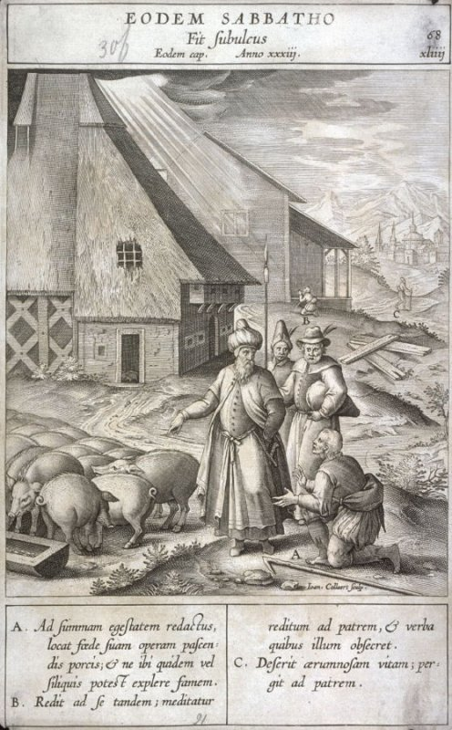 The Parable of the Prodigal Son, plate 68 from P. Jeronimo Nadal, Evangelicae Historiea Imagines (Antwerp, 1593)
