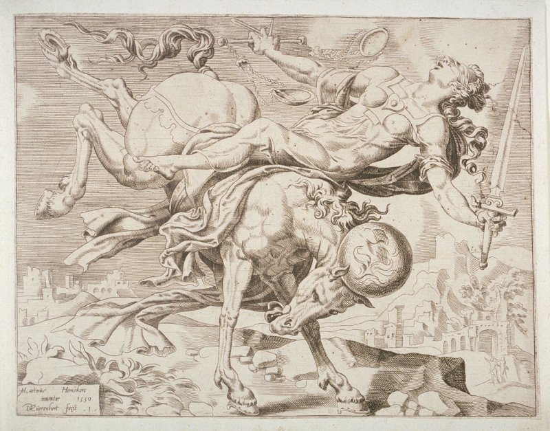 Blinded Justice Falling from a Horse, pl.1 from a set of four Allegories of the Unbridled World