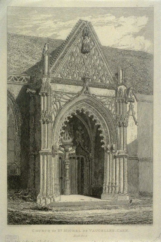 Church of St. Michel De Vaucelles, from the series 'Architectural Antiquities of Normandy'