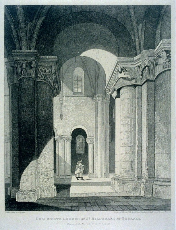 Collegiate Church of St. Hildebert, from the series 'Architectural Antiquities of Normandy'