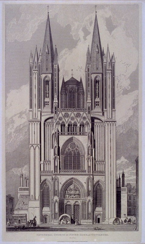 Cathedral Church of Notre Dame, at Coutances, from the series 'Architectural Antiquities of Normandy'