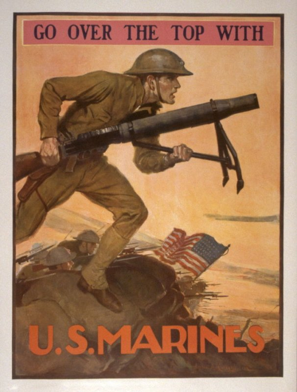 Go Over the Top with U.S. Marines - World War I poster