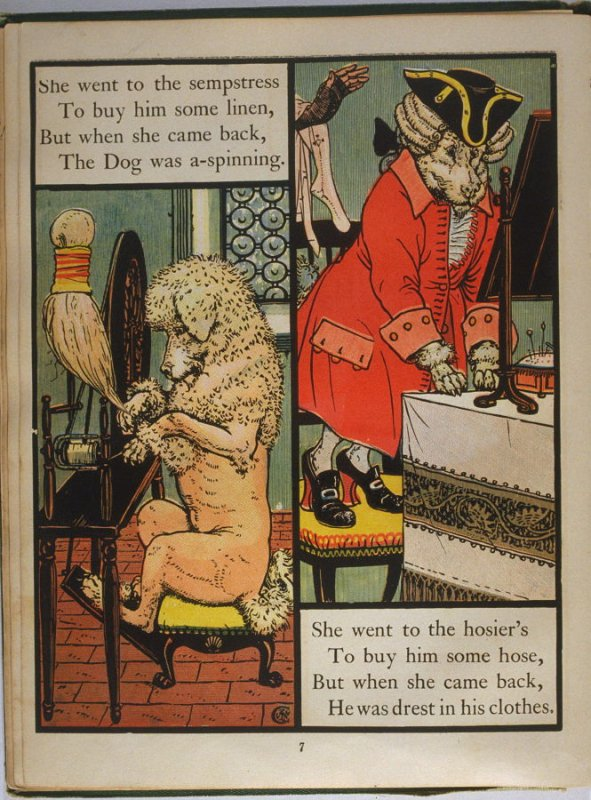 Sixth illustration, on page 7, of Old Mother Hubbard in the book The Marquis of Carabas' Picture Book by Walter Crane/printed in colours by Edmund Evans (London: George Routledge and Sons, n.d. [ca. 1875])