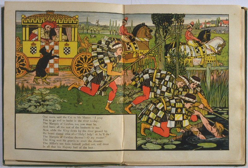 Fourth illustration, on unnumbered pages 4 and 5, of Puss in Boots in the book The Marquis of Carabas' Picture Book by Walter Crane/printed in colours by Edmund Evans (London: George Routledge and Sons, n.d. [ca. 1875])