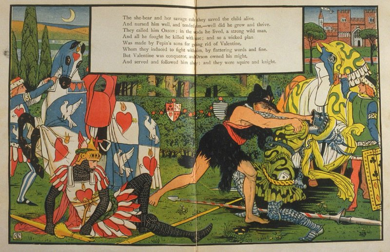 Fourth illustration, on unnumbered pages 4 and 5, of Orson and Valentine in the book The Marquis of Carabas' Picture Book by Walter Crane/printed in colours by Edmund Evans (London: George Routledge and Sons, n.d. [ca. 1875])