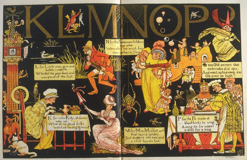 Fourth illustration, on unnumbered pages 4 and 5, of The Absurd ABC in the book The Marquis of Carabas' Picture Book by Walter Crane/printed in colours by Edmund Evans (London: George Routledge and Sons, n.d. [ca. 1875])