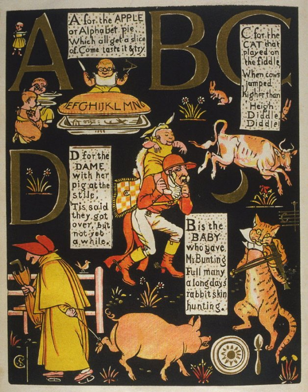 First illustration, on unnumbered page 1, of The Absurd ABC in the book The Marquis of Carabas' Picture Book by Walter Crane/printed in colours by Edmund Evans (London: George Routledge and Sons, n.d. [ca. 1875])