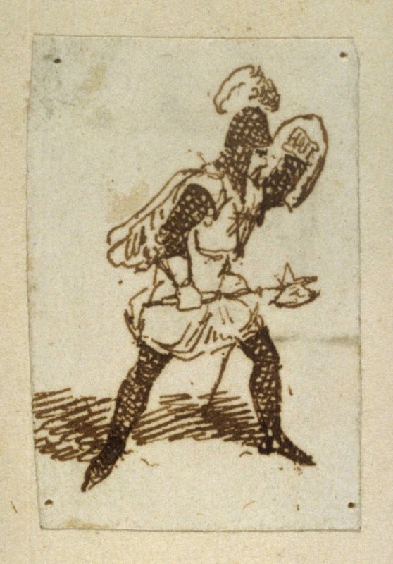 Untitled [Helmeted man with ax]