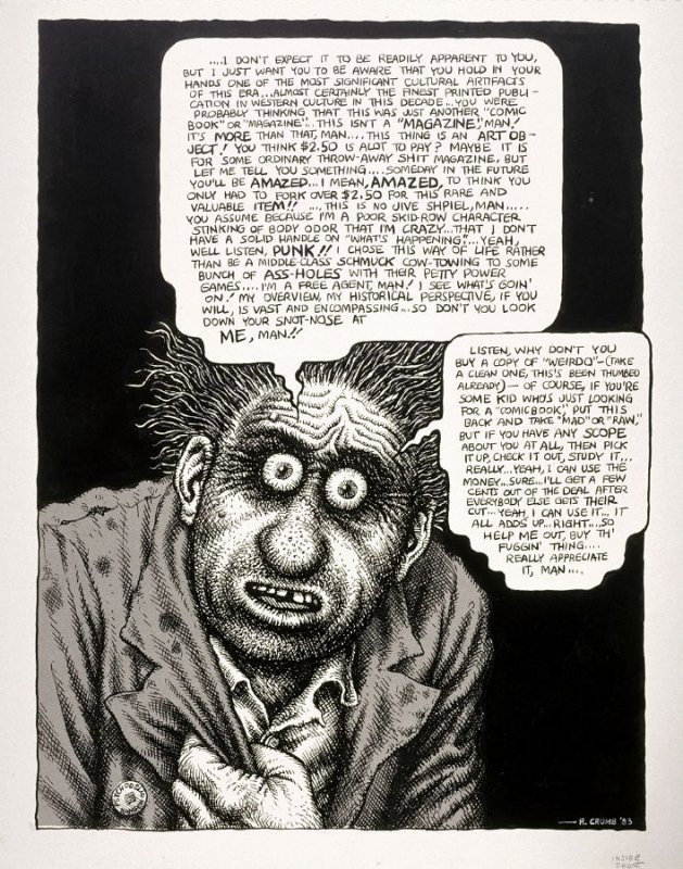 """""""Listen, Why Don't You Buy a Copy?"""", drawing for the inside front cover of Weirdo Magazine, No. 9 [1984]"""
