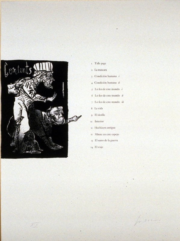 Contents, table of contents from the portfolio, Homage to Quevedo