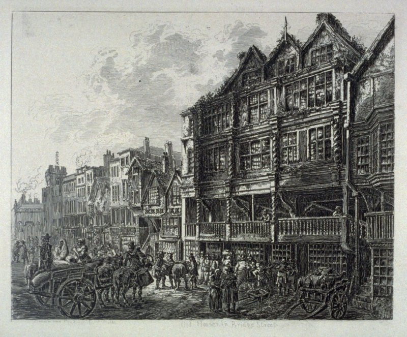 Old Houses in Bridge Street, from: Wanderings and Pencillings amongst Ruins of the Olden Times: A Series of Seventy-three Etchings by George Cuitt, Esq. (London, 1855)