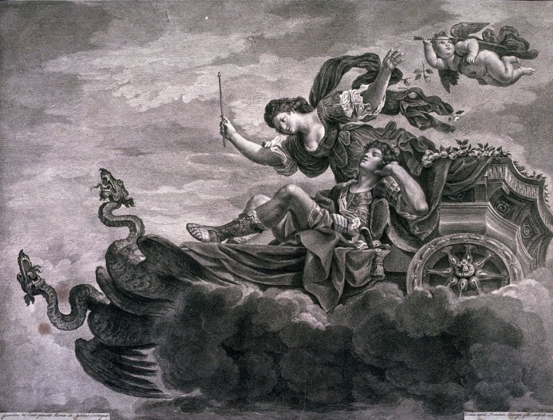 Renaud Asleep in Armide's chariot, after Guercino's painting in the Palazzo Costaguti