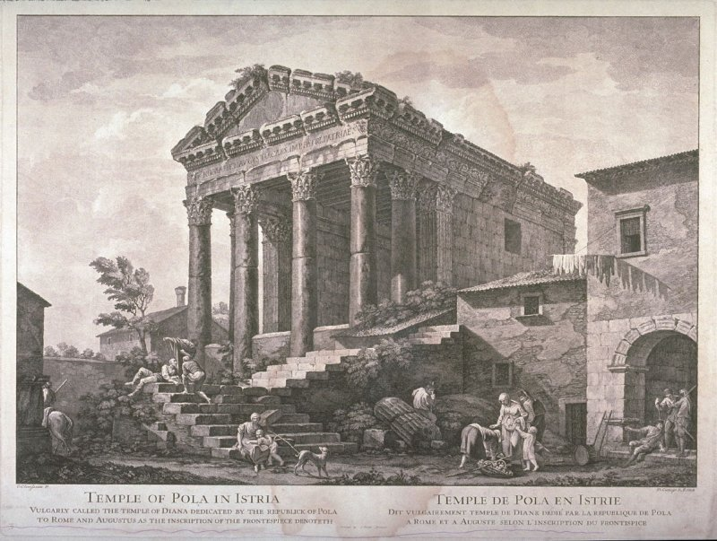 Temple of Pola in Istria, pl. 3 from the series Views of Antique Buildings and Famous Ruins in Italy, after C. Clérisseau