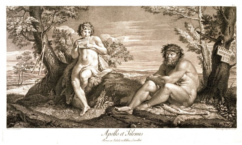 Apollo and Silenus, pl. 30 from the series Schola Italica Picturae