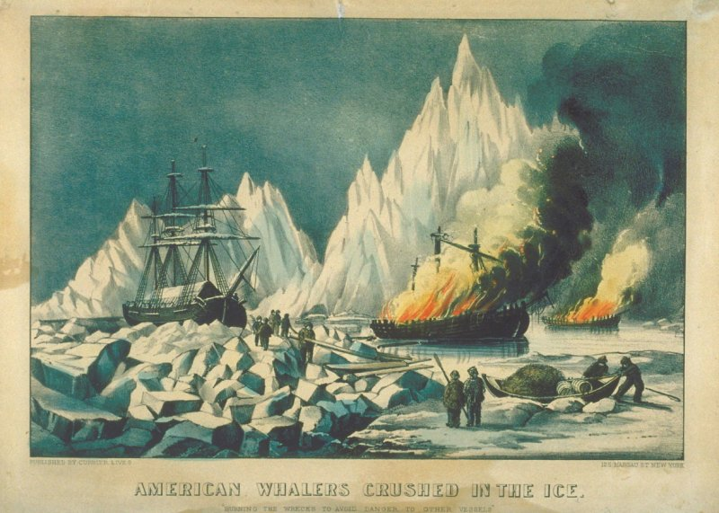 "American Whalers Crushed in the Ice. ""Burning the wrecks to avoid danger to other vessels"""
