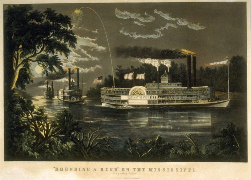 """""""Rounding a Bend"""" on the Mississippi. The parting Salute"""