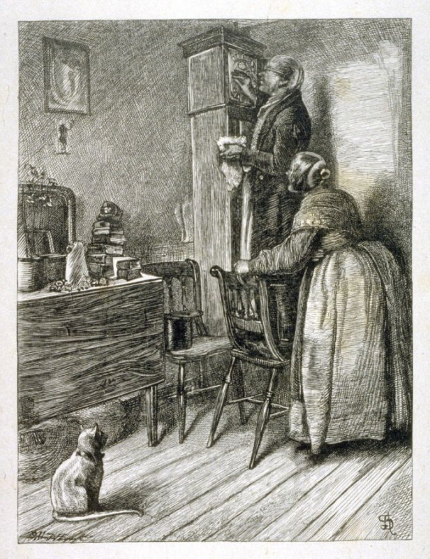 The Old Couple and the Clock, from Edward and Thomas Dalziel's A Round of Days (London: George Routledge & Sons, 1866)