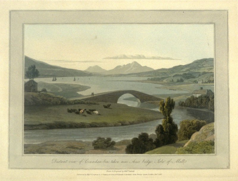 Distant View of Cruachan, taken near Arros bridge, Isle of Mull, from Ayton's 'Voyage Round Great Britain' (London, 1814-1825) Vol.III