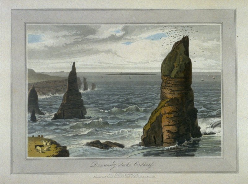 Duncansby stack, Caithness, from Ayton's 'Voyage Round Great Britain' (1814-1825) Vol.V