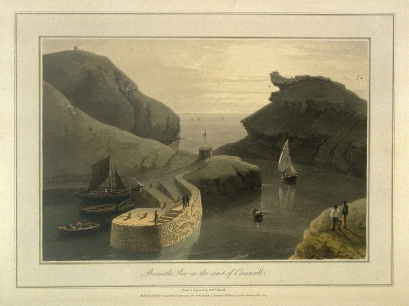 Boscastle Pier on the coast of Cornwall, from Ayton's 'Voyage Round Great Britain' (London, 1814-1825) Vol.I