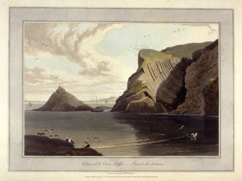 Clam-shell Cave, Staffa. Iona in the distance, from Ayton's 'Voyage Round Great Britain' (1814-1825) Vol.III