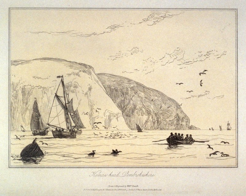 Kemaes-head Pembrokeshire, from Ayton's 'Voyage Round Great Britain' (London 1814-1825) Vol.I