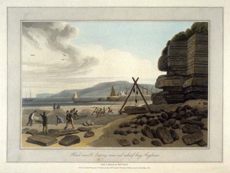 Black marble Quarry near red wharf bay Anglesea, from Ayton's 'Voyage Round Great Britain' (London, 1814-1825) Vol.II