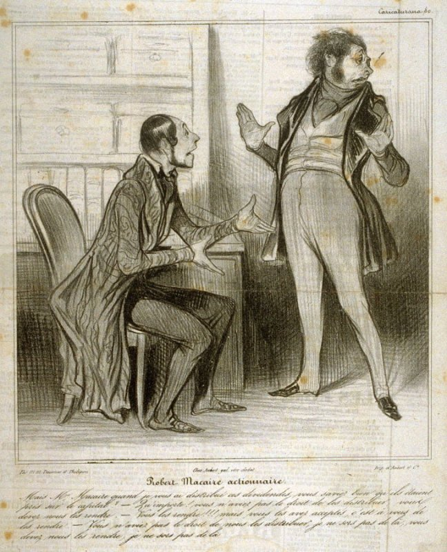Robert Macaire actionnaire, no. 80 from the series Caricaturana, published in Le Charivari 13 May 1838