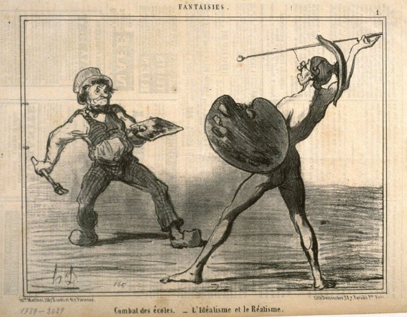Combat des Écoles. - L'idéalisme et Le réalisme, (Battle of the Schools — Idealism and Realism), from the series Fantaisies (Fantasies), published in Charivari 24 April 1855