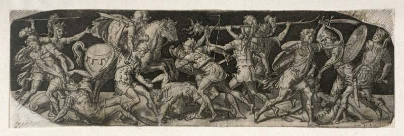 Combats and triumphs: Foot soldiers and horsemen in savage battle (7 from a series of 12 engravings)