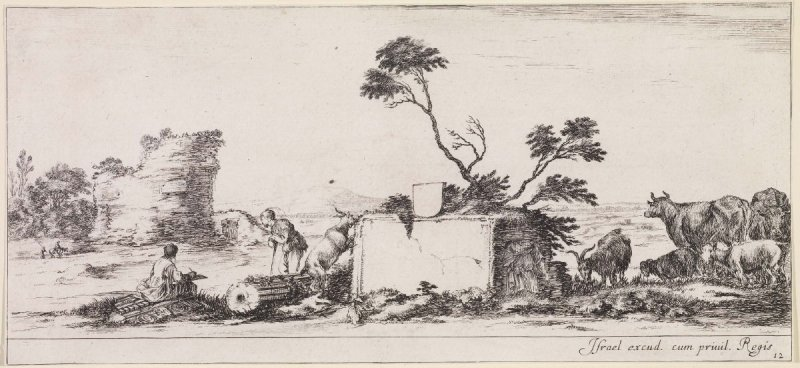 A Draughtsman in a Pasture, from the series Divers Paysages